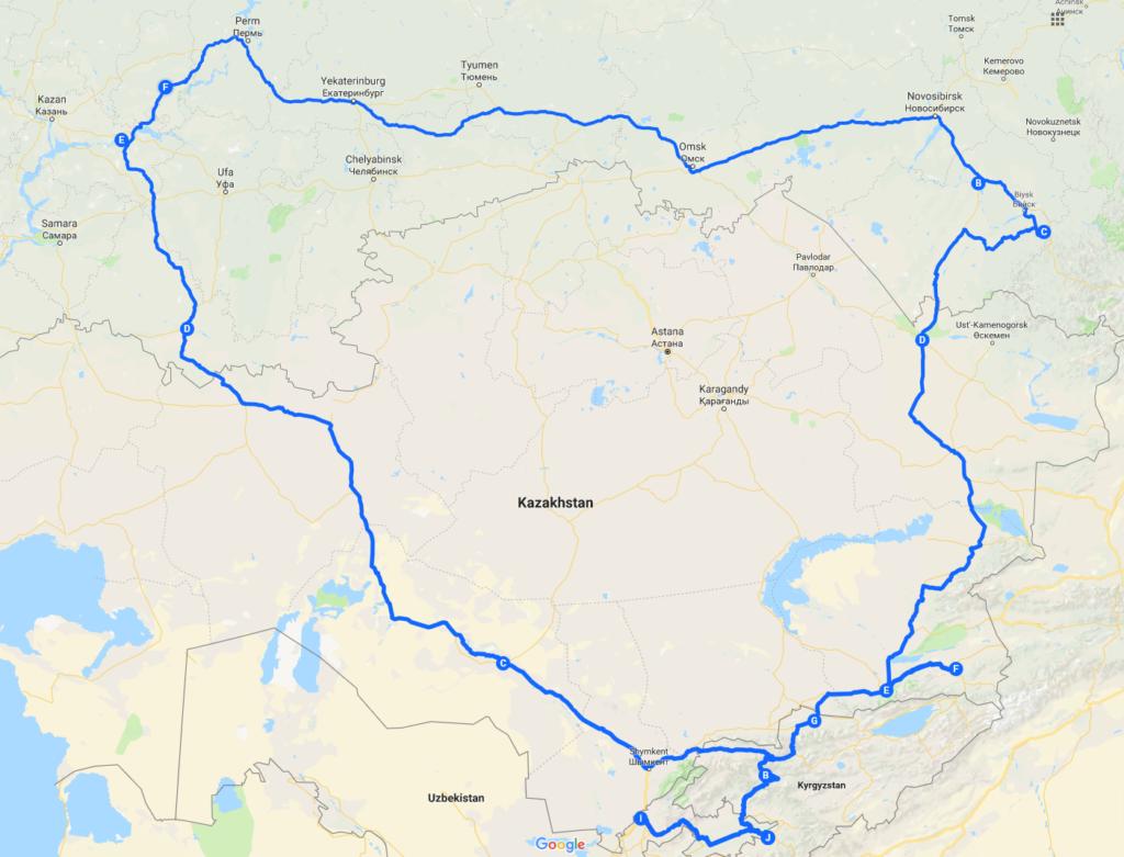 Маршрут по Средней Азии